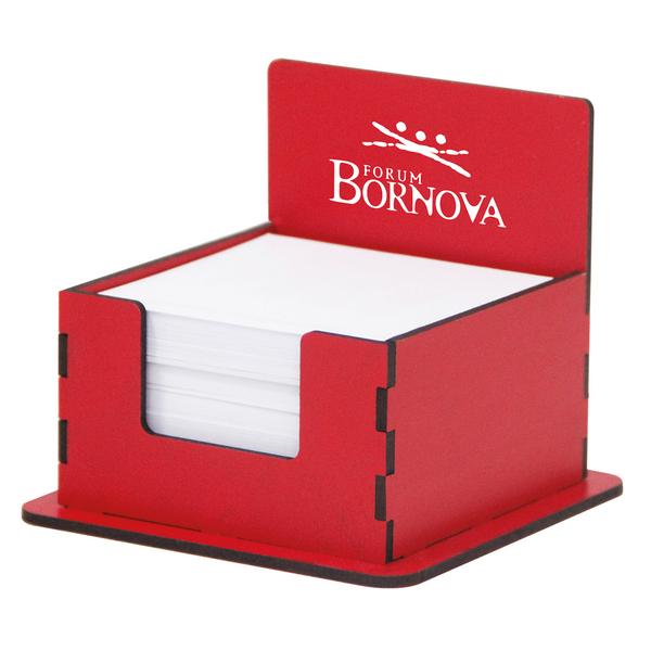 AHŞAP KÜP BLOKNOT KIRMIZI - Promosyon Kağıtlık - Promosyon Ürünler