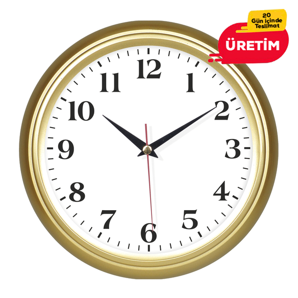 KOMET DUVAR SAATİ 25 CM ALTIN - Promosyon Duvar Saati - Promosyon Ürünler