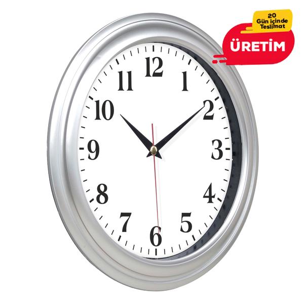 TRUVA DUVAR SAATİ 32 CM GÜMÜŞ - Promosyon Duvar Saati - Promosyon Ürünler