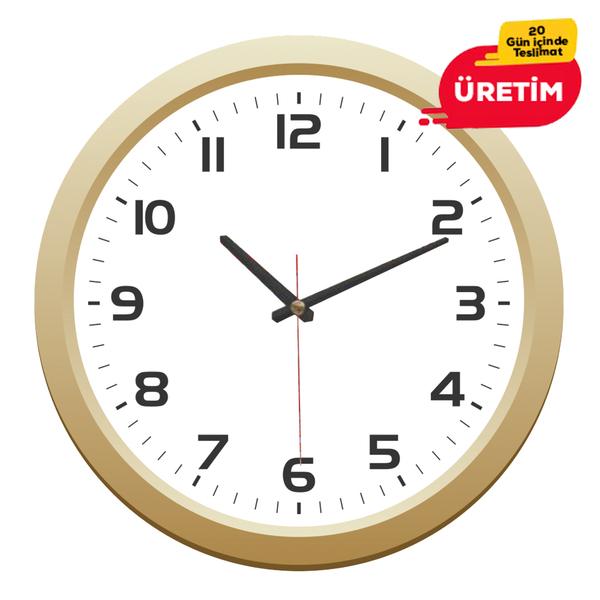 MİLAS  DUVAR SAATİ 30 CM ALTIN - Promosyon Duvar Saati - Promosyon Ürünler