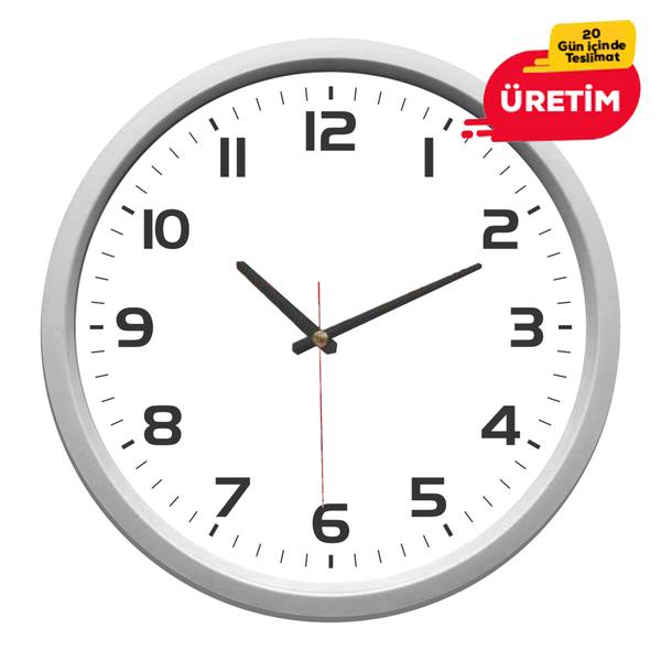 MİLAS  DUVAR SAATİ 30 CM GÜMÜŞ - Promosyon Duvar Saati - Promosyon Ürünler