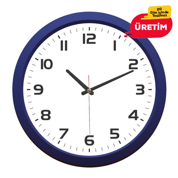 MAJÖR DUVAR SAATİ 36 CM LACİVERT - Promosyon Duvar Saati - Promosyon Ürünler