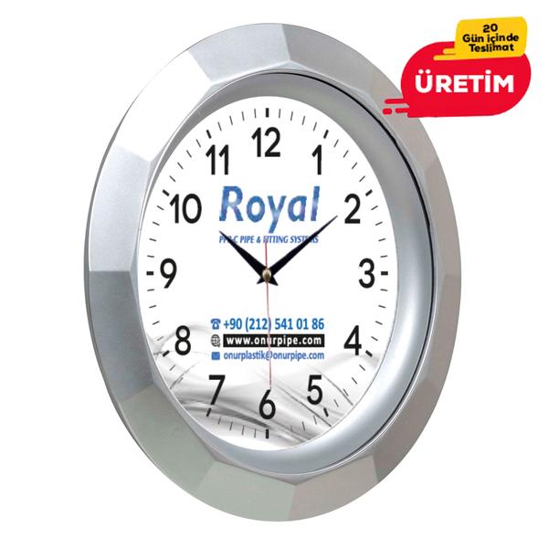 BRUNO DUVAR SAATİ 30 CM GÜMÜŞ - Promosyon Duvar Saati - Promosyon Ürünler