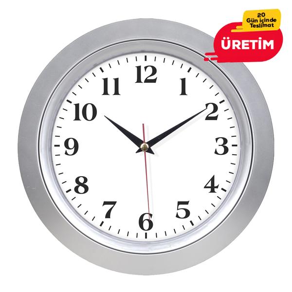 BÜRO DUVAR SAATİ 33 CM GÜMÜŞ - Promosyon Duvar Saati - Promosyon Ürünler