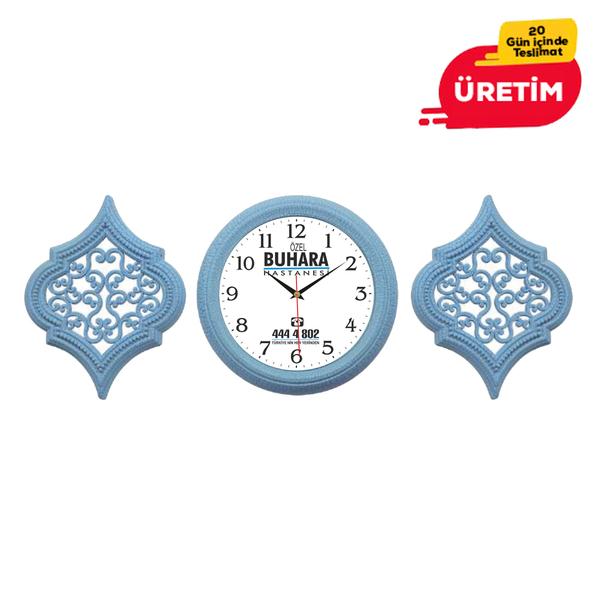 DEKORATIF DUVAR SAATİ 25 CM MAVİ - Promosyon Duvar Saati - Promosyon Ürünler