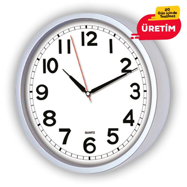 SİMELA DUVAR SAATİ 22 CM GÜMÜŞ - Promosyon Duvar Saati - Promosyon Ürünler