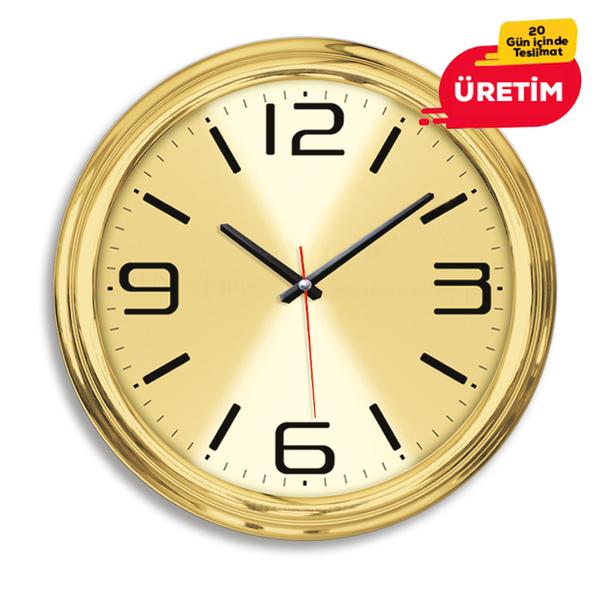 GOLD METAL DUVAR SAATİ 40 CM - Promosyon Duvar Saati - Promosyon Ürünler