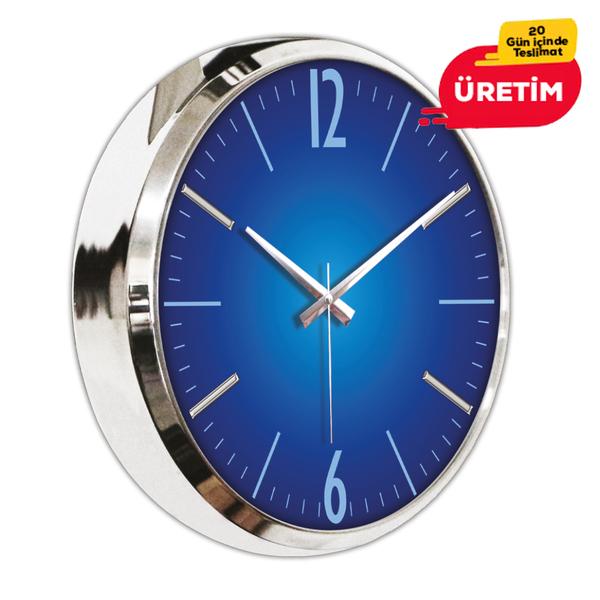 KROM METAL DUVAR SAATİ 40 CM LACİVERT - Promosyon Duvar Saati - Promosyon Ürünler