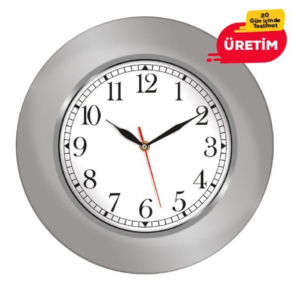 COLOR DUVAR SAATİ 35 CM GÜMÜŞ - Promosyon Duvar Saati - Promosyon Ürünler