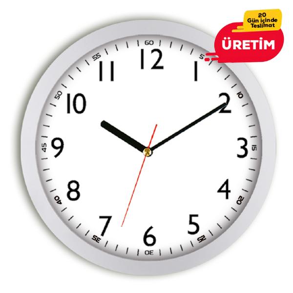 ORÇUN DUVAR SAATİ 35 CM GÜMÜŞ - Promosyon Duvar Saati - Promosyon Ürünler