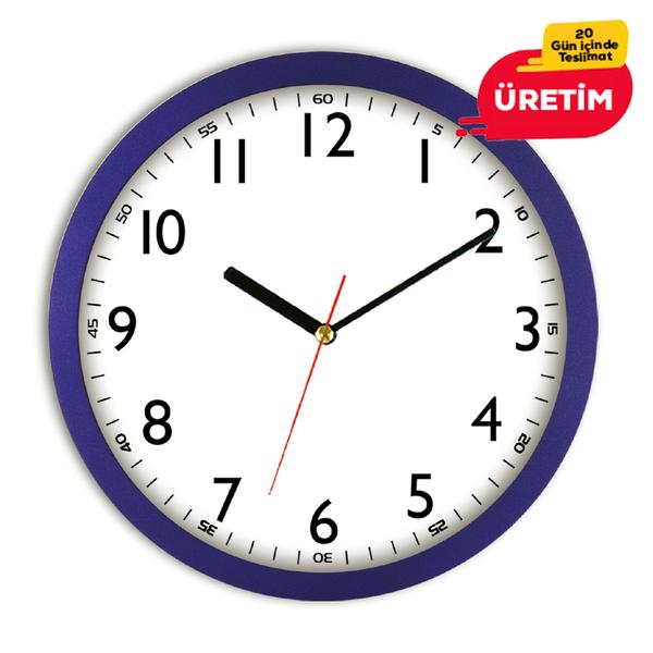 ORÇUN DUVAR SAATİ 35 CM LACİVERT - Promosyon Duvar Saati - Promosyon Ürünler