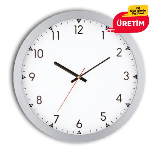 RUBİ DUVAR SAATİ 30 CM GÜMÜŞ - Promosyon Duvar Saati - Promosyon Ürünler