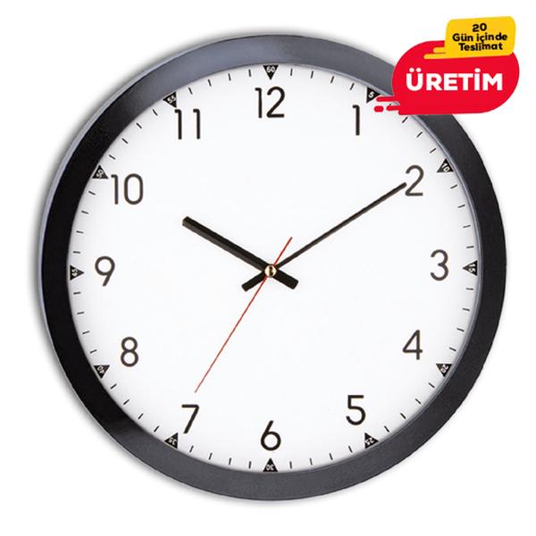RUBİ DUVAR SAATİ 30 CM SİYAH - Promosyon Duvar Saati - Promosyon Ürünler