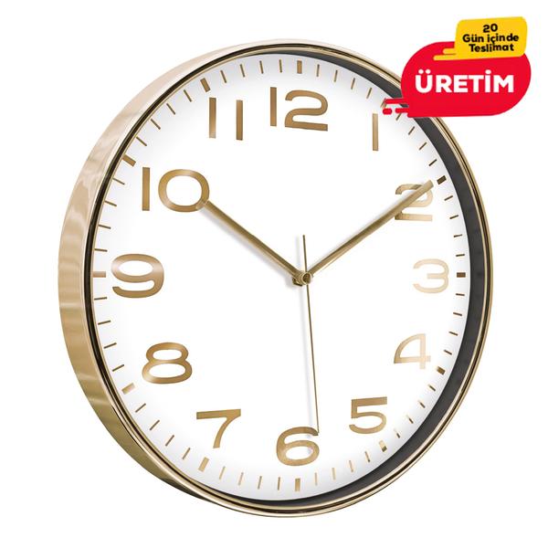 ASKON DUVAR SAATİ ALTIN (38 CM) - Promosyon Duvar Saati - Promosyon Ürünler