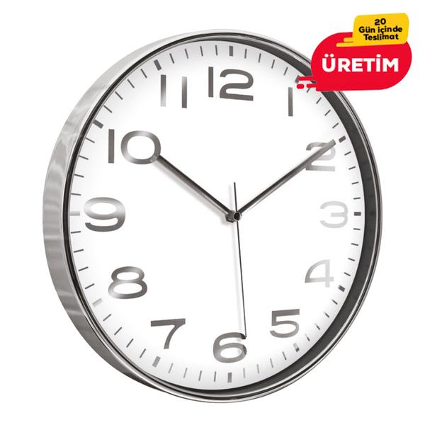 ASKON DUVAR SAATİ GÜMÜŞ (38 CM) - Promosyon Duvar Saati - Promosyon Ürünler