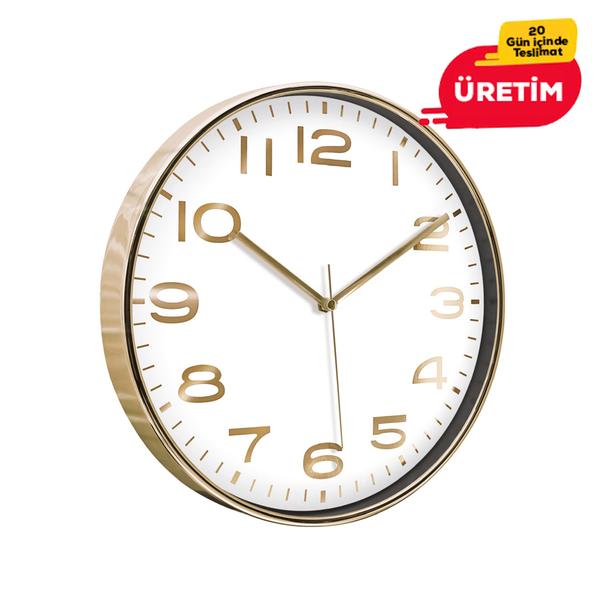 AŞİYAN DUVAR SAATİ ALTIN (33 CM) - Promosyon Duvar Saati - Promosyon Ürünler