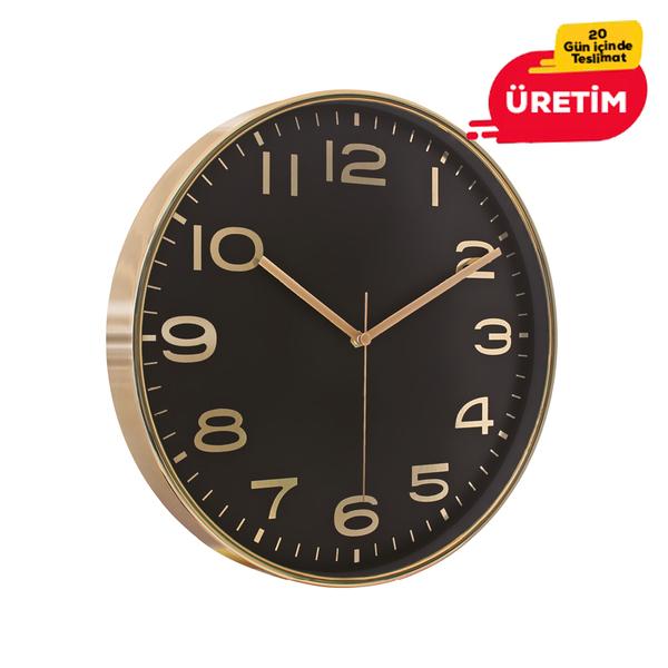 AŞİYAN DUVAR SAATİ ALTIN-SİYAH (33 CM) - Promosyon Duvar Saati - Promosyon Ürünler
