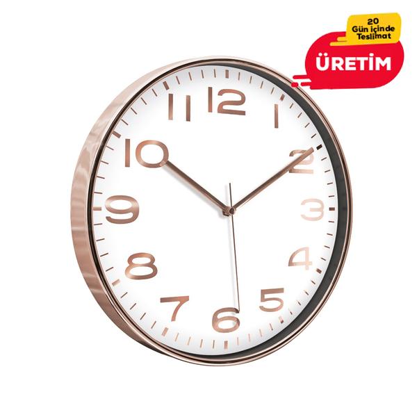 AŞİYAN DUVAR SAATİ BAKIR (33 CM) - Promosyon Duvar Saati - Promosyon Ürünler