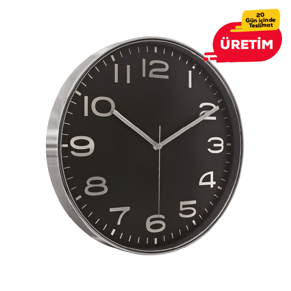 AŞİYAN DUVAR SAATİ GÜMÜŞ-SİYAH (33 CM) - Promosyon Duvar Saati - Promosyon Ürünler