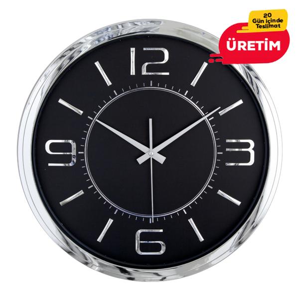 ÇAĞIN DUVAR SAATİ GÜMÜŞ-SİYAH (42 CM) - Promosyon Duvar Saati - Promosyon Ürünler