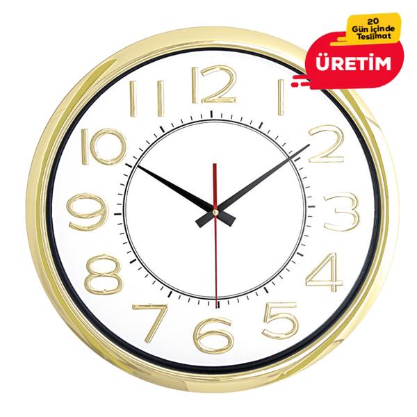 TİTANYUM DUVAR SAATİ ALTIN (42 CM) - Promosyon Duvar Saati - Promosyon Ürünler