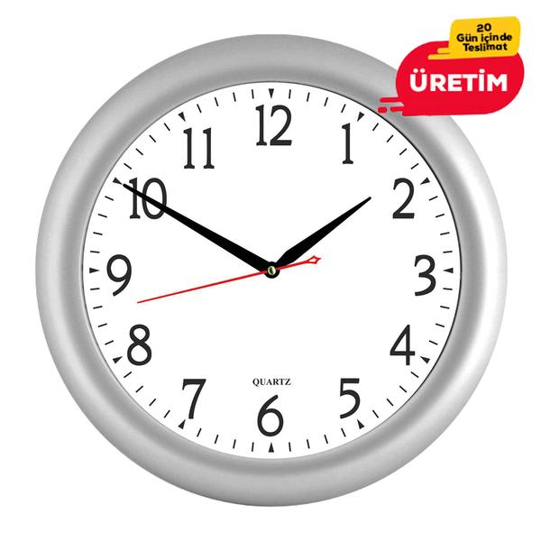 GİRİT DUVAR SAATİ 32 CM GÜMÜŞ - Promosyon Duvar Saati - Promosyon Ürünler