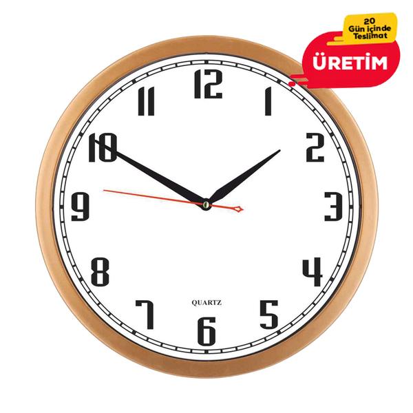 İNCİ DUVAR SAATİ 30 CM ALTIN - Promosyon Duvar Saati - Promosyon Ürünler