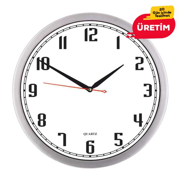 İNCİ DUVAR SAATİ 30 CM GÜMÜŞ - Promosyon Duvar Saati - Promosyon Ürünler