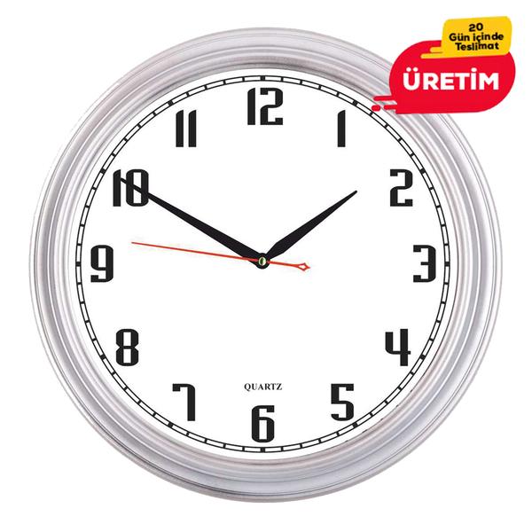 KOZMİK DUVAR SAATİ 36 CM GÜMÜŞ - Promosyon Duvar Saati - Promosyon Ürünler