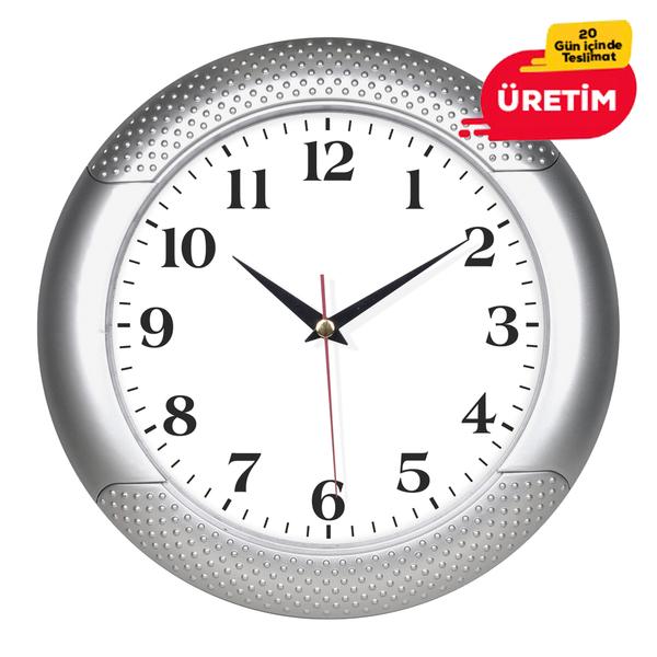 MAXİ DUVAR SAATİ 33 CM GÜMÜŞ (ÜRETİMDEN KALKTI) - Promosyon Duvar Saati - Promosyon Ürünler