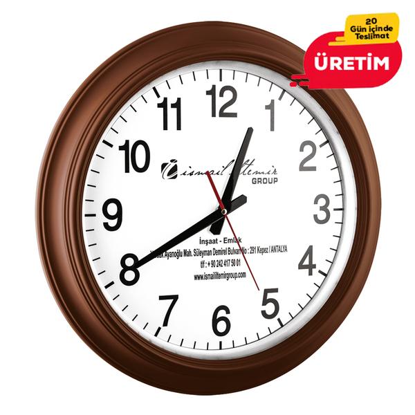 OPAK DUVAR SAATİ AHŞAP (46 CM) - Promosyon Duvar Saati - Promosyon Ürünler