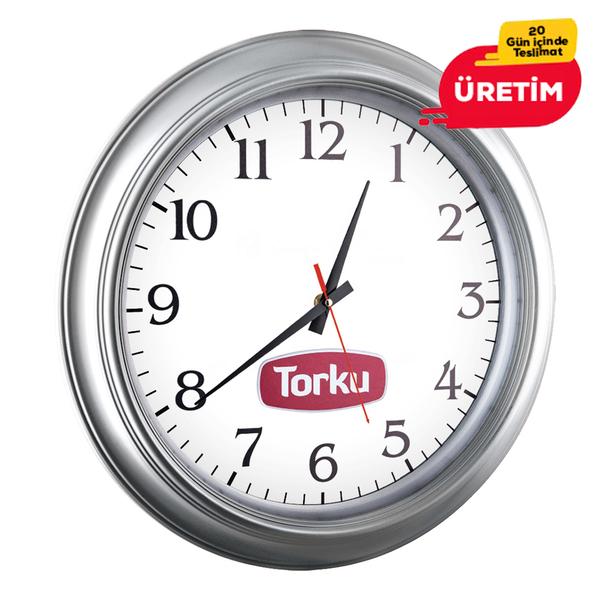 OPAK DUVAR SAATİ GÜMÜŞ (46 CM) - Promosyon Duvar Saati - Promosyon Ürünler