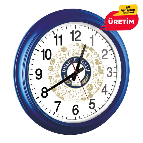 OPAK DUVAR SAATİ LACİVERT (46 CM) - Promosyon Duvar Saati - Promosyon Ürünler