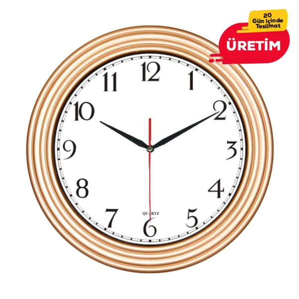 TİRE DUVAR SAATİ 32 CM ALTIN - Promosyon Duvar Saati - Promosyon Ürünler