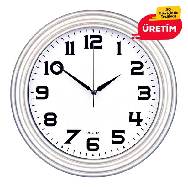 TİRE DUVAR SAATİ 32 CM GÜMÜŞ - Promosyon Duvar Saati - Promosyon Ürünler
