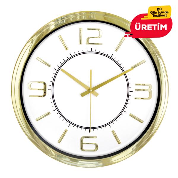 ÇAĞIN DUVAR SAATİ ALTIN (42 CM) - Promosyon Duvar Saati - Promosyon Ürünler