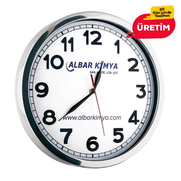 GLORY METAL DUVAR SAATİ BEYAZ (40 CM) - Promosyon Duvar Saati - Promosyon Ürünler