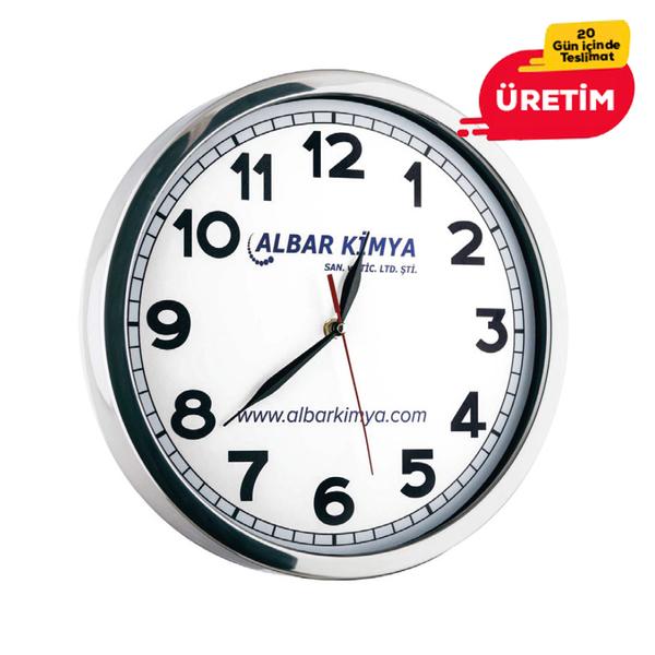 GLORY METAL DUVAR SAATİ BEYAZ (35 CM) - Promosyon Duvar Saati - Promosyon Ürünler