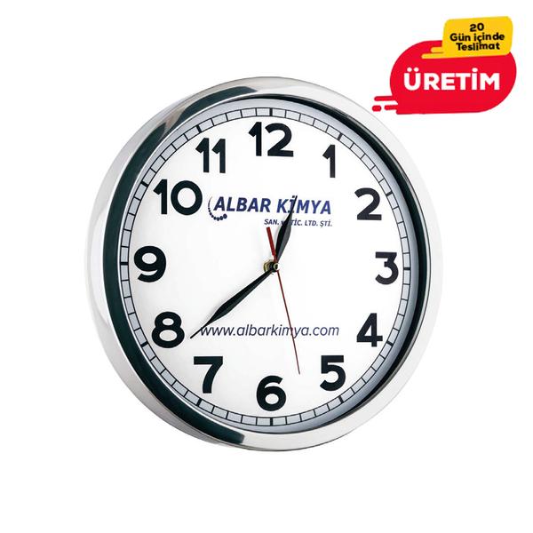 GLORY METAL DUVAR SAATİ BEYAZ (30 CM) - Promosyon Duvar Saati - Promosyon Ürünler