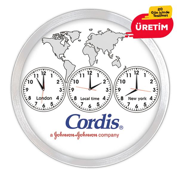 ÜÇLÜ DÜNYA DUVAR SAATİ 40 CM - Promosyon Duvar Saati - Promosyon Ürünler